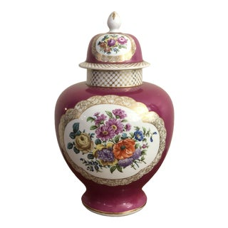 "Antique ""Ar"" Augustus Rex Meissen Hand Painted Porcelain Covered Urn / Vase For Sale"