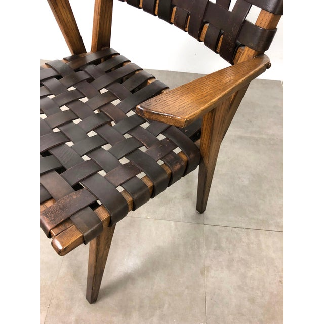 Pair of Mid-Century Modern Leather Webbed Chairs For Sale In Detroit - Image 6 of 10