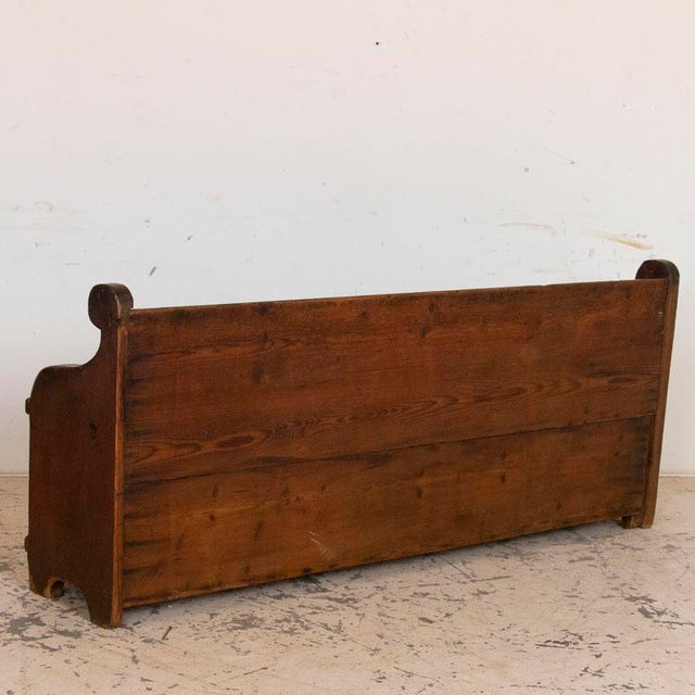 Antique Original Blue Painted Bench With Storage For Sale - Image 4 of 10