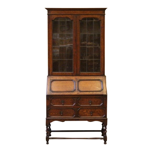1910s Jacobean Oak Bureau Bookcase For Sale