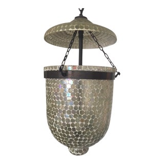 Mosaic Hurricane Glass and Bronze Colored Lantern For Sale