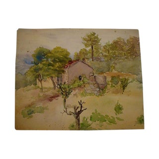 1940s Spanish Adobe Tile Roof Landscape Watercolor Painting For Sale