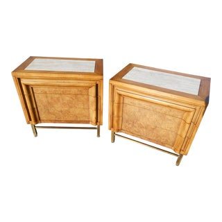 Pair of Mid-Century Modern Burl Wood Nightstands by j.l. Metz Furniture For Sale