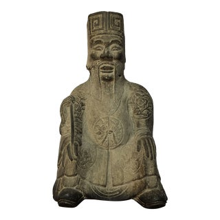 Antique Ming Dynasty Carved Stone Architectural Statue For Sale