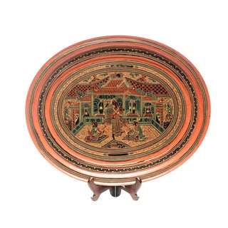 Asian Antique Hand-Painted Red Burmese Lacquered Decorative Plate For Sale
