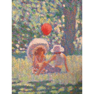 20th Century Surrealist Pointillist Landscape Painting in Gold Frame Preview