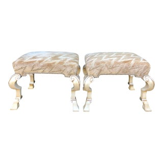 Italian Carved Benches by Charles Pollock - a Pair For Sale