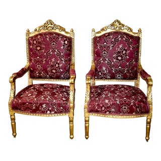 Ornately Carved Italian Renaissance Parlor Chairs- A Pair For Sale