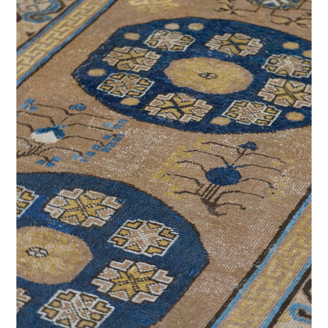 MANSOUR Antique Handwoven Wool Persian Khotan Runner For Sale - Image 4 of 5