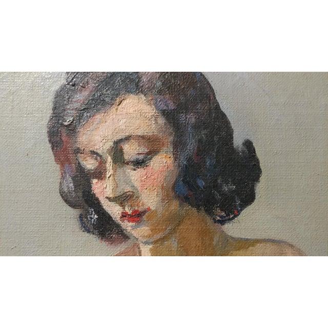 Blue Ismael De La Serna - Mujer Desnuda Mid-Century Oil Painting For Sale - Image 8 of 10