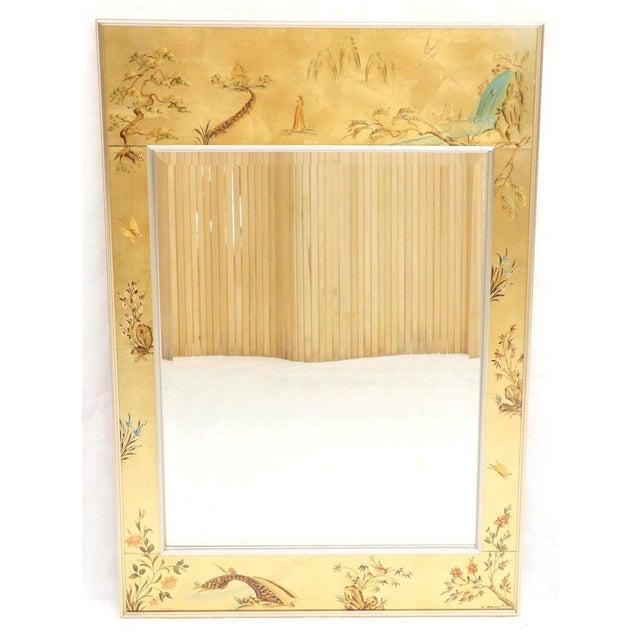 La Barge Reverse Painted Gold Leaf Rectangular Frame Decorative Mirror For Sale - Image 9 of 13