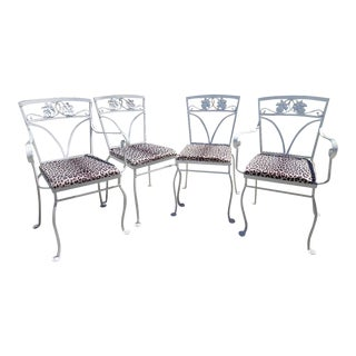 1940s Vintage Salterini Wrought Iron Maple Leaf Chairs-Set of 4 For Sale