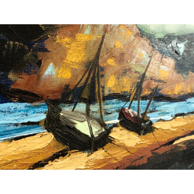 1960s Oil on Canvas Ships on Shoreline Signed Carrie For Sale - Image 4 of 7
