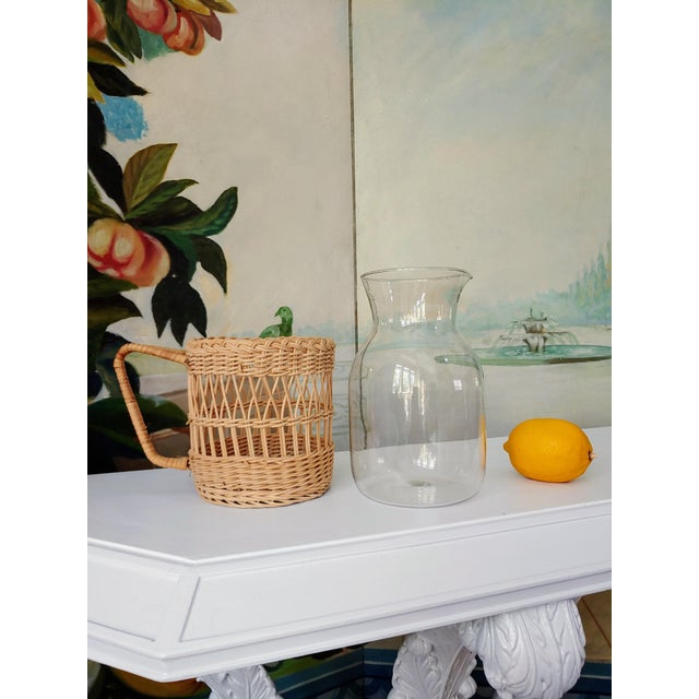 Coastal Wicker Carafe Pitcher For Sale - Image 3 of 6