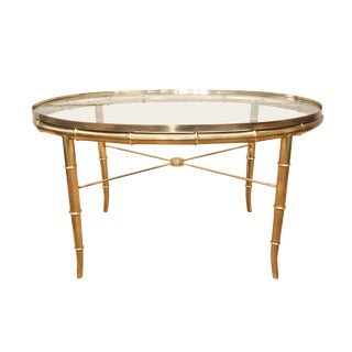 1960s Italian Faux Bamboo Brass Cocktail Coffee Table For Sale
