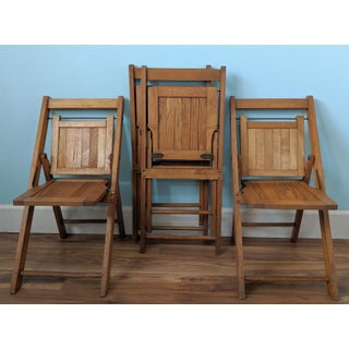 Mid-Century Oak Children's Folding Chairs - Set of 4 Preview