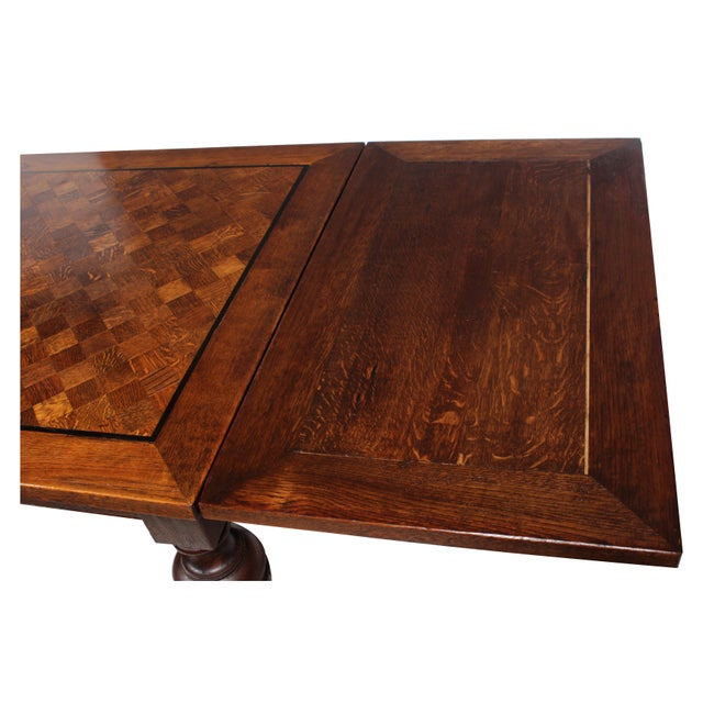 1920s Marquetry Tudor-Style Dining Table For Sale - Image 5 of 10