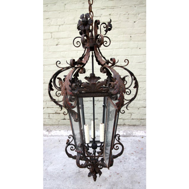 Early 20th Century Spanish Wrought Iron Lantern For Sale - Image 5 of 5