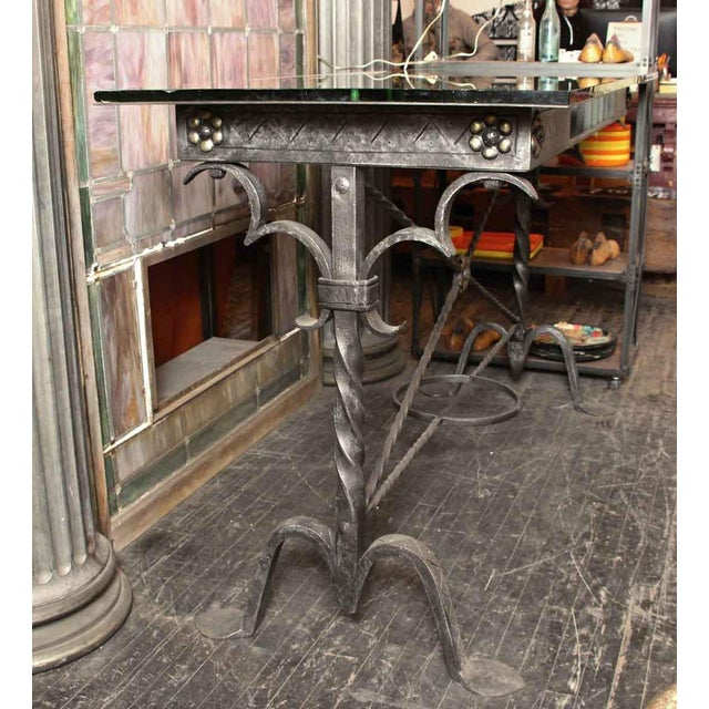 1920s Traditional Samuel Yellin Wrought Iron Bank Table For Sale - Image 4 of 12
