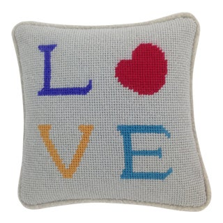 Modern Love Needlepoint Pillow For Sale