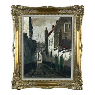 Antique Framed Oil Painting on Canvas of Beguinage by L. Bosmans For Sale