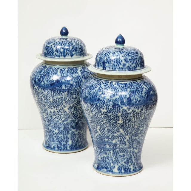 Chinese Blue and White Jars with Lids - A Pair For Sale - Image 4 of 13