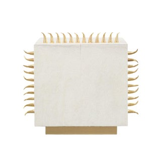 Cream Leather End Table With Gold Spikes For Sale