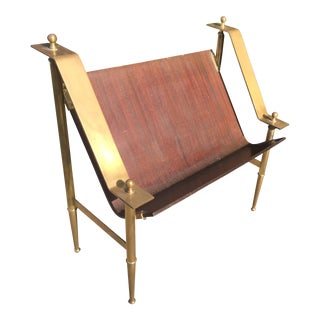 1970s Vintage Brass and Wood Easel For Sale