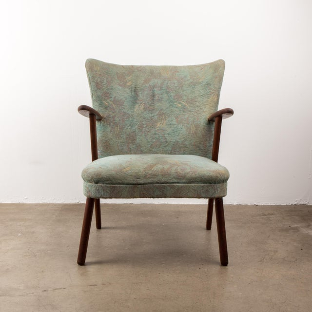 Fritz Hansen style Danish Midcentury 1940s Easy Chair with teak arms in a mint color fabric