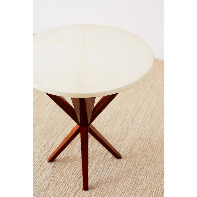 Art Deco Style Mahogany and Goatskin Vellum Drinks Table For Sale - Image 9 of 13