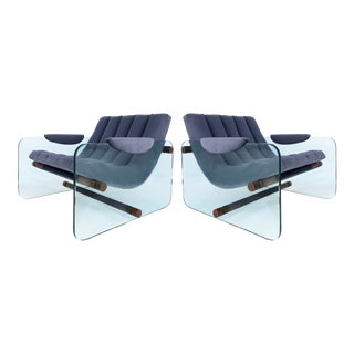 Adrian Pearsall Craft Associates Glass Sided Club Chairs-A Pair For Sale