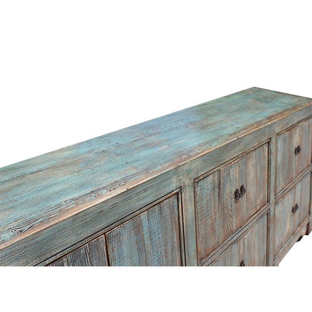 Wood Distressed Rustic Chalk Pastel Blue Sideboard Buffet Table Cabinet For Sale - Image 7 of 8