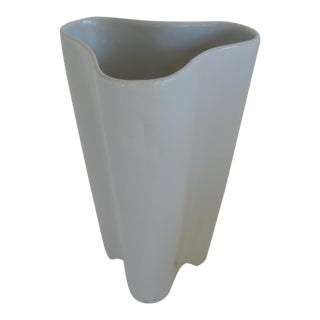 Mid-Century Modern Trefoil Ice White Ceramic Vase