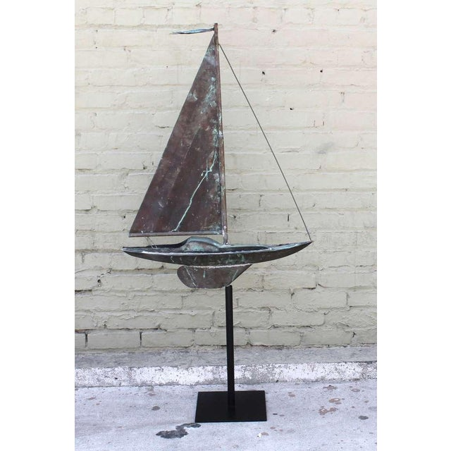 Black 19th c. New England Folk Art Copper Sailboat Weather Vane For Sale - Image 8 of 8