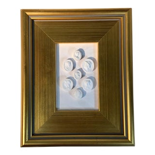 1920's Neoclassical Framed World Tour Plaster Intaglios