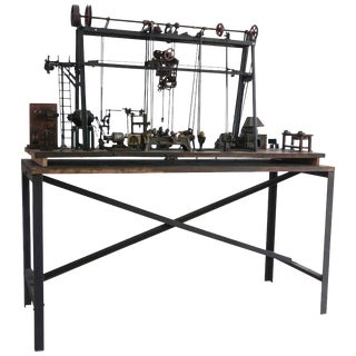 Early 20th Century Miniature Model of French Industrial Machinery Assembly Line For Sale