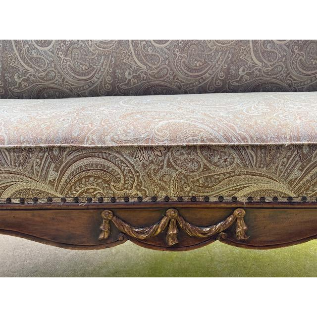 Late 19th Century Early 19th C. French Walnut Settee With Guilt Accents For Sale - Image 5 of 13