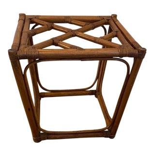Boho Chic Rattan Bamboo Side Table For Sale