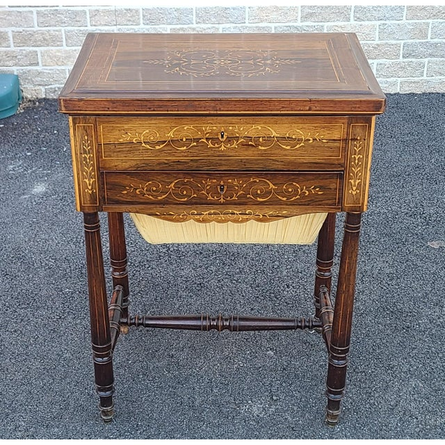Antique English Regency Inlaid Rosewood 19th Century Sewing Work Table C1890 For Sale - Image 13 of 13
