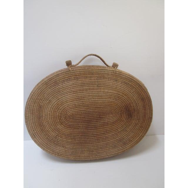 Primitive Large Oversized Vintage Oval Lidded Woven Storage Basket For Sale - Image 3 of 8