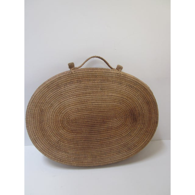 Large Oversized Vintage Oval Lidded Woven Storage Basket - Image 3 of 8