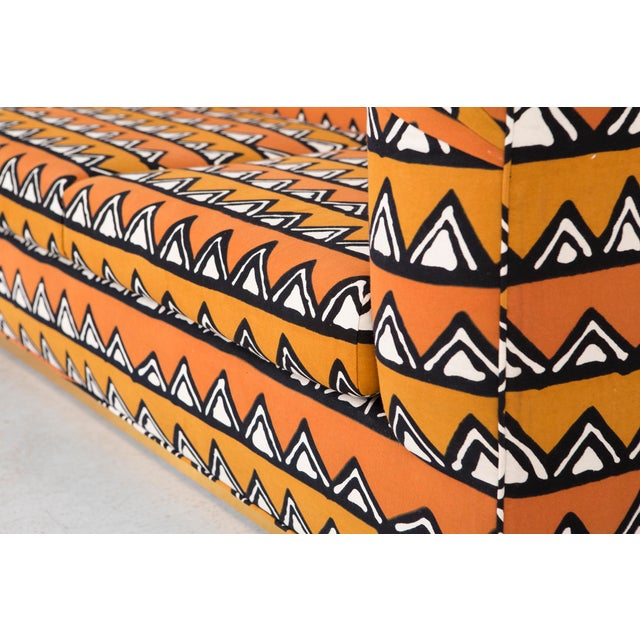 Rounded Barrel Back Brass Platform Sofa Reupholstered in African Mud Cloth - Image 8 of 11