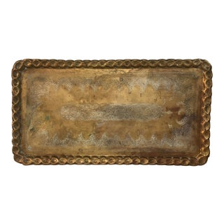 1950s Vintage Etched Brass Tray For Sale