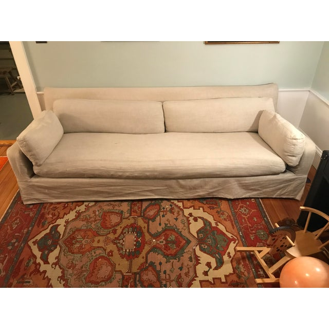 "Great look and comfort to this restoration hardware classic sofa. 108"" for additional room to lounge. We used with a..."