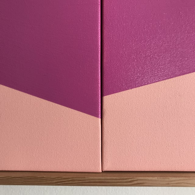 "Original Acrylic Painting ""Pink On Point Triptych JET0527"" - Image 4 of 5"