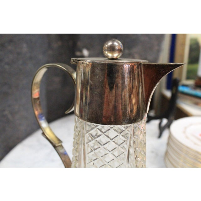 1940s Crystal & Silver Pitcher For Sale - Image 4 of 7