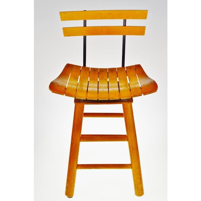 Mid Century Arthur Umanoff Style Slatted Wood Swivel Stool For Sale - Image 13 of 13