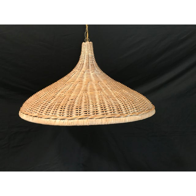 Tan Mid 20th Century Vintage Wicker Parasol Pendant Light For Sale - Image 8 of 8