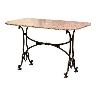 Early 20th Century French Parisian Painted Iron and Granite-Top Bistrot Table For Sale