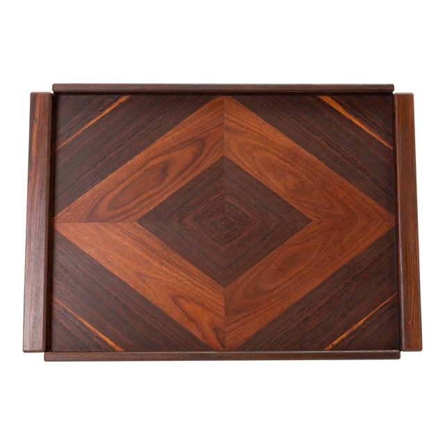 Diamond Motif Rosewood Tray by Don Shoemaker for Señal For Sale